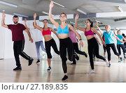Купить «Group of energetic people dancing together», фото № 27189835, снято 9 октября 2017 г. (c) Яков Филимонов / Фотобанк Лори
