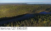 Купить «Продолговатое, вытянутое в длину озеро в хвойном лесу. Северная Карелия», видеоролик № 27190031, снято 9 ноября 2017 г. (c) Кекяляйнен Андрей / Фотобанк Лори