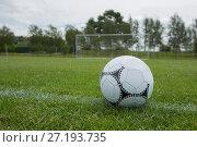 Купить «Soccer ball on white marking line», фото № 27193735, снято 26 июля 2017 г. (c) Wavebreak Media / Фотобанк Лори