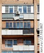 Купить «Четырнадцатиэтажный одноподъездный кирпичный жилой дом серии «башня Вулыха», построен в 1969 году. Измайловский проспект, 55. Район Измайлово. Город Москва», эксклюзивное фото № 27193867, снято 6 мая 2017 г. (c) lana1501 / Фотобанк Лори