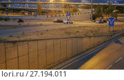 Light trails on Illuminated city motorway in evening. Стоковое видео, видеограф Яков Филимонов / Фотобанк Лори