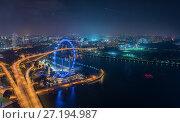 Ночной городской пейзаж Города Сингапур (2017 год). Стоковое фото, фотограф Valeriy Ryasnyanskiy / Фотобанк Лори