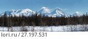 Купить «Панорама: Ключевская группа вулканов на Камчатке», фото № 27197531, снято 7 января 2016 г. (c) А. А. Пирагис / Фотобанк Лори