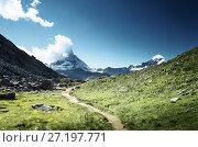 Купить «ground way to Matterhorn peak, Switzerland», фото № 27197771, снято 11 сентября 2017 г. (c) Iakov Kalinin / Фотобанк Лори