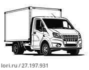 Купить «Truck outline template isolated on white», иллюстрация № 27197931 (c) Александр Володин / Фотобанк Лори
