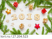 Купить «New Year 2018 background with 2018 figures,Christmas toys, fir branches. New Year 2018 holiday composition», фото № 27204523, снято 30 ноября 2016 г. (c) Зезелина Марина / Фотобанк Лори