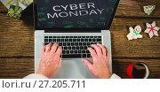 Купить «Composite image of title for celebration of cyber monday », фото № 27205711, снято 27 января 2020 г. (c) Wavebreak Media / Фотобанк Лори