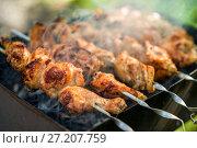 Купить «Шашлык Shish kebab from the chicken», фото № 27207759, снято 6 августа 2017 г. (c) Baturina Yuliya / Фотобанк Лори