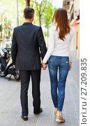 Couple spending summer time together and strolling through. Стоковое фото, фотограф Яков Филимонов / Фотобанк Лори