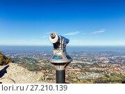Купить «Inspection binoculars in the fortress of San Marino, Italy», фото № 27210139, снято 6 ноября 2016 г. (c) Евгений Ткачёв / Фотобанк Лори