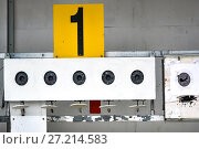 Купить «Биатлон. Мишень спортивная для стрельбы», фото № 27214583, снято 23 июня 2018 г. (c) Сергеев Валерий / Фотобанк Лори
