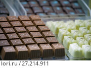 Купить «Конфеты из белого и темного шоколада с различными начинками. Ручная работа», фото № 27214911, снято 5 марта 2016 г. (c) Татьяна Белова / Фотобанк Лори