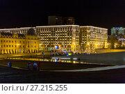 Купить «Night streets of Baku. The square in front of the Heydar Aliyev Cultural Center», фото № 27215255, снято 24 сентября 2016 г. (c) Евгений Ткачёв / Фотобанк Лори