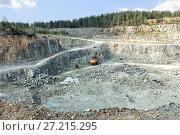 Купить «Open pit mining and processing plant for crushed stone», фото № 27215295, снято 25 июля 2016 г. (c) Евгений Ткачёв / Фотобанк Лори