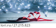 Купить «Valentines day ribbon hearts», фото № 27215823, снято 9 января 2017 г. (c) Иван Михайлов / Фотобанк Лори