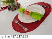 Купить «Beautiful table setting for an occasion», фото № 27217835, снято 14 июня 2017 г. (c) Wavebreak Media / Фотобанк Лори