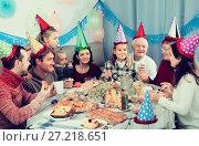 Купить «Glade family behaving jokingly during party», фото № 27218651, снято 25 мая 2018 г. (c) Яков Филимонов / Фотобанк Лори