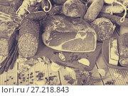 Купить «Variety of meats on table», фото № 27218843, снято 18 октября 2018 г. (c) Яков Филимонов / Фотобанк Лори