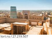 Купить «Top view of the ancient fortress Ichan Kala. Khiva, Uzbekistan», фото № 27219507, снято 20 октября 2016 г. (c) Юлия Бабкина / Фотобанк Лори