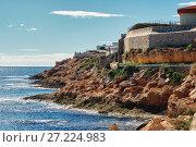 Купить «Rocky coastline of Cabo Roig. Costa Blanca. Spain», фото № 27224983, снято 5 ноября 2017 г. (c) Alexander Tihonovs / Фотобанк Лори