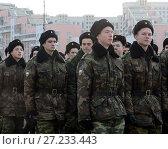 Купить «Кадеты Московского кадетского музыкального корпуса готовятся к параду 7 ноября на Красной площади», фото № 27233443, снято 23 октября 2013 г. (c) Free Wind / Фотобанк Лори