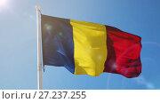 Купить «Romanian flag is national symbol of country.», видеоролик № 27237255, снято 6 октября 2017 г. (c) Яков Филимонов / Фотобанк Лори