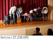 Купить «Group of performers came to bow to audience», фото № 27238095, снято 3 декабря 2016 г. (c) Яков Филимонов / Фотобанк Лори