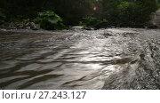 Купить «Amazing mountain Chvizepse river stream bend in autumn, Medoveevka , Caucasus», видеоролик № 27243127, снято 24 октября 2017 г. (c) Ирина Мойсеева / Фотобанк Лори