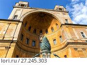 Купить «Fontan della Pigna (Pine Cone Fountain) in Vatican court yard», фото № 27245303, снято 7 ноября 2017 г. (c) Евгений Ткачёв / Фотобанк Лори