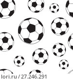 Купить «Seamless pattern with football balls», иллюстрация № 27246291 (c) Сергей Лаврентьев / Фотобанк Лори