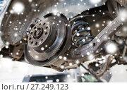 Купить «car brake disc at repair station», фото № 27249123, снято 1 июля 2016 г. (c) Syda Productions / Фотобанк Лори