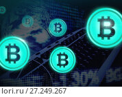 Купить «Bitcoin icons with transition», фото № 27249267, снято 17 июня 2019 г. (c) Wavebreak Media / Фотобанк Лори