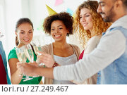 Купить «friends clinking glasses of champagne at party», фото № 27249467, снято 3 сентября 2017 г. (c) Syda Productions / Фотобанк Лори