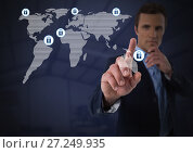 Купить «Businessman touching security lock icons on map», фото № 27249935, снято 17 июня 2019 г. (c) Wavebreak Media / Фотобанк Лори