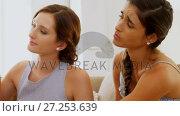 Emotional Bride reading her card before the wedding 4K 4k. Стоковое видео, агентство Wavebreak Media / Фотобанк Лори