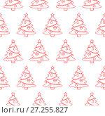 Christmas tree. Seamless pattern. Vector background. Стоковая иллюстрация, иллюстратор Дмитрий Варава / Фотобанк Лори