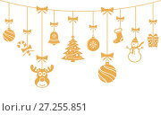 Christmas golden ornaments hanging. Merry Christmas vector background. Стоковая иллюстрация, иллюстратор Дмитрий Варава / Фотобанк Лори
