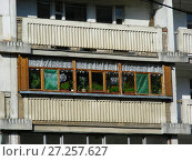 Купить «Шестнадцатиэтажный четырёхподъездный блочный жилой дом серии И-522а, построен в 1984 году. Камчатская улица, 3. Район Гольяново. Город Москва», эксклюзивное фото № 27257627, снято 3 сентября 2009 г. (c) lana1501 / Фотобанк Лори