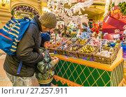 Купить «Папа  помогает сыну выбрать новогодние елочные украшения», фото № 27257911, снято 25 ноября 2017 г. (c) Виктор Тараканов / Фотобанк Лори
