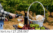 woman pouring wine into glass. Red wine, cheese, bread and grapes on wooden table on background with green vineyard. Стоковое видео, видеограф Яков Филимонов / Фотобанк Лори
