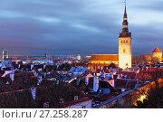 Купить «Night cityscape of Tallinn, Estonia», фото № 27258287, снято 4 ноября 2017 г. (c) Stockphoto / Фотобанк Лори