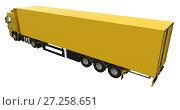 Купить «Large yellow truck with a semitrailer. Template for placing graphics. 3d rendering.», иллюстрация № 27258651 (c) Владимир Хапаев / Фотобанк Лори