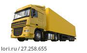 Купить «Large yellow truck with a semitrailer. Template for placing graphics. 3d rendering.», иллюстрация № 27258655 (c) Владимир Хапаев / Фотобанк Лори