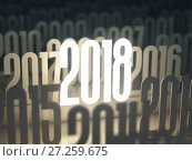 Купить «New year 2018. Background from different years.», фото № 27259675, снято 15 августа 2018 г. (c) Maksym Yemelyanov / Фотобанк Лори