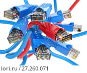 Купить «Computer network LAN cables rj45. Internet connections choice concept.», фото № 27260071, снято 23 мая 2018 г. (c) Maksym Yemelyanov / Фотобанк Лори