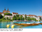 Купить «Boats on the river Rhine in Basel, Switzerland», фото № 27260867, снято 20 сентября 2018 г. (c) Сергей Новиков / Фотобанк Лори