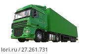 Купить «Large green truck with a semitrailer. Template for placing graphics. 3d rendering.», иллюстрация № 27261731 (c) Владимир Хапаев / Фотобанк Лори
