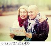 Купить «Elderly spouses with paper map», фото № 27262435, снято 18 марта 2018 г. (c) Яков Филимонов / Фотобанк Лори
