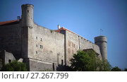 Купить «National flag of Estonia on blue sky move over Long Herman - a tower of Toompea Castle on the hill Toompea. Tallinn, Estonia», видеоролик № 27267799, снято 5 октября 2009 г. (c) Куликов Константин / Фотобанк Лори