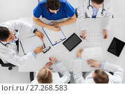 Купить «group of doctors with cardiograms at hospital», фото № 27268583, снято 4 апреля 2017 г. (c) Syda Productions / Фотобанк Лори